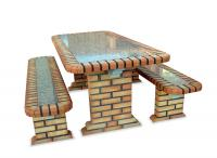 Ref. Table with Granite Stone all Brick - Height 75 cm x Width 89 cm x Length 190 cm